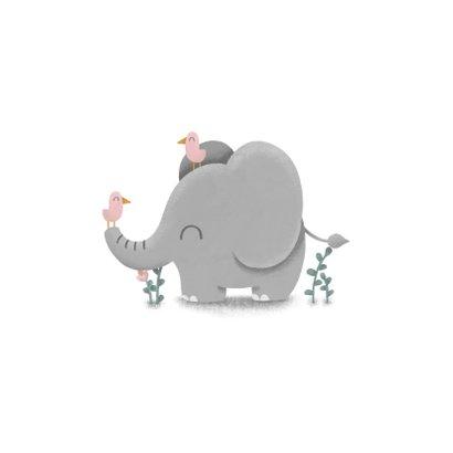 Felicitatie geboorte meisje met lieve olifant en vogeltjes 2