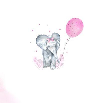Felicitatie geboorte meisje olifantje ballon 2