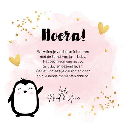 Felicitatie geboorte meisje pinguïn waterverf roze goudlook 3