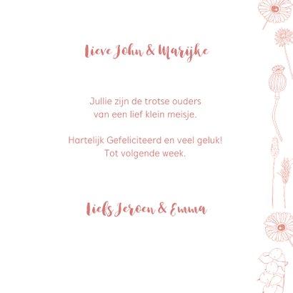 Felicitatie geboorte meisje roze bloemen 3