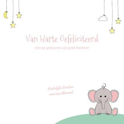 Felicitatie geboorte meisje  schattig olifantje en sterren 3