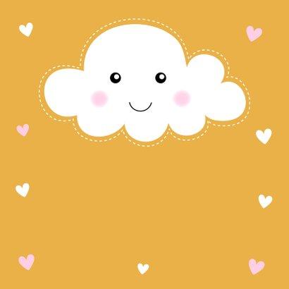Felicitatie geboorte meisje wolkje okergeel 2