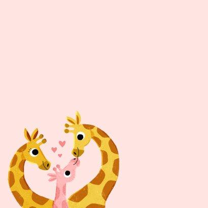 felicitatie geboorte met 3 giraffes en hartjes 2