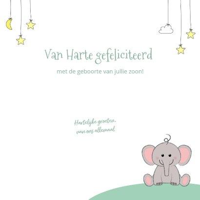 Felicitatie geboorte met een schattig olifantje en sterren 3