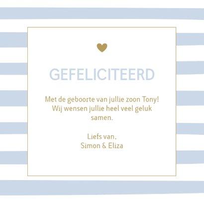 Felicitatie geboorte - Strepen blauw 3