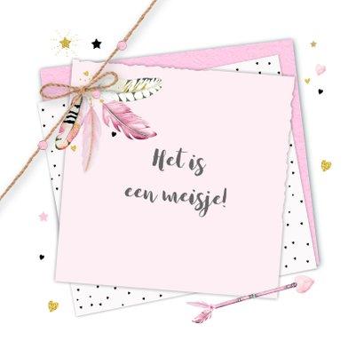 Felicitatie geboorte veren papier 2