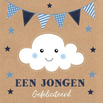 Felicitatie geboorte wolk slinger Kraft jongen 2