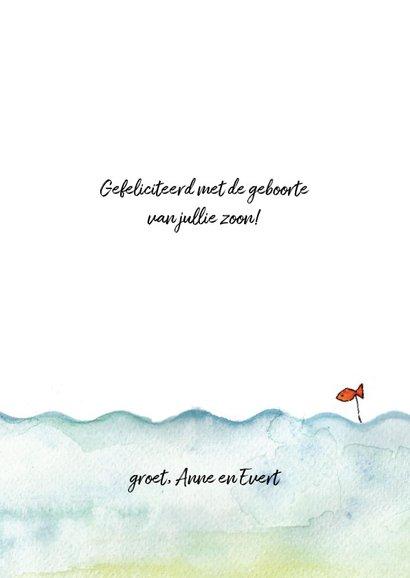 Felicitatie geboortekaartje jongen bootje op zee 3