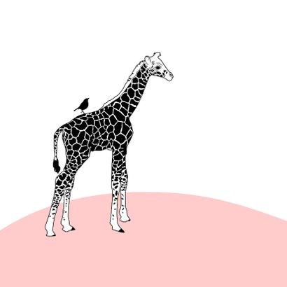 Felicitatie - Giraf met vogel en vlinder 2
