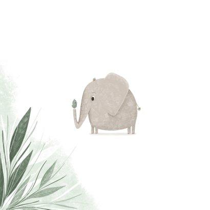 Felicitatie hoera een jongen jungle olifantje met vogel 2