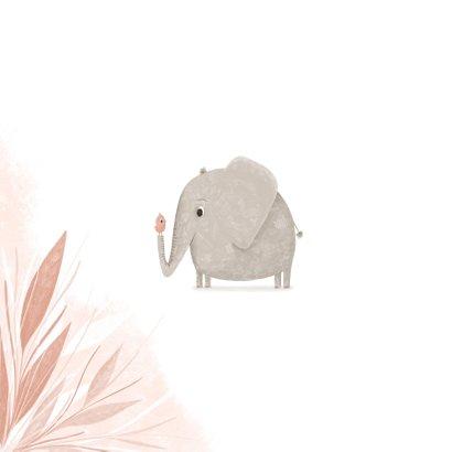 Felicitatie hoera een meisje olifantje met vogel jungle 2