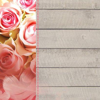 Felicitatie Hout rozen en veer jubileum 2