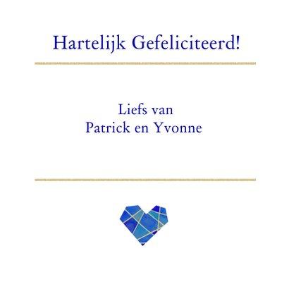 Felicitatie huwelijk blauw hart 3