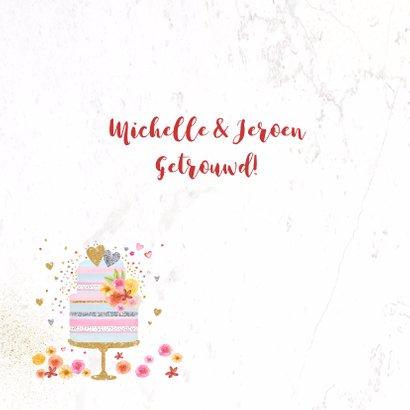 Felicitatie huwelijk taart pastel 2