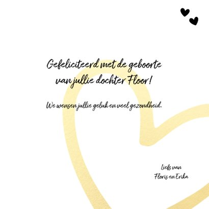 Felicitatie - it's a girl gouden hart 3