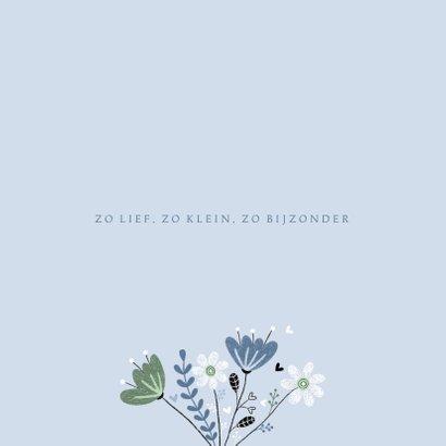 Felicitatie jongen vogel bloemen blauw 2