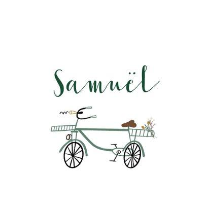 Felicitatie kaart jongen hip groen fietsje 2