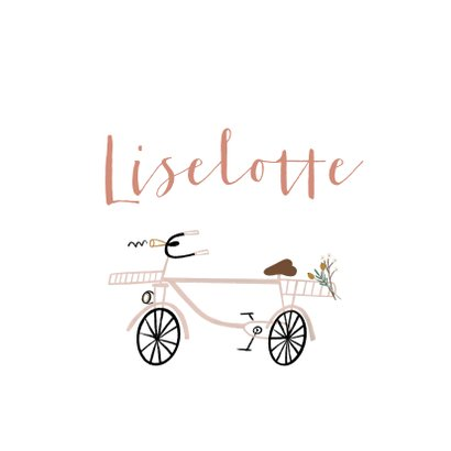 Felicitatie kaart meisje hip roze fietsje 2