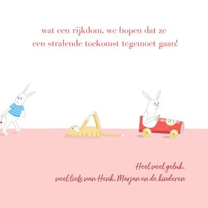 Felicitatie - kleine meisjes met konijntje 3