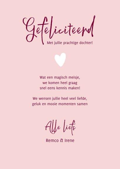 Felicitatie Kunstkaart voor de geboorte van een meisje 3
