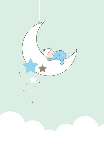 Felicitatie - Maan, sterren en slapend kindje 2