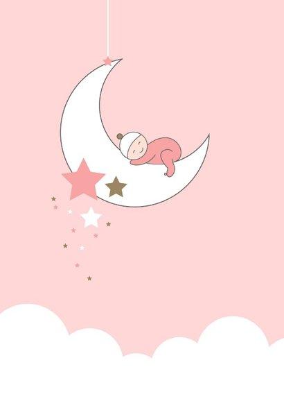Felicitatie - Maan, sterren en slapend meisje 2