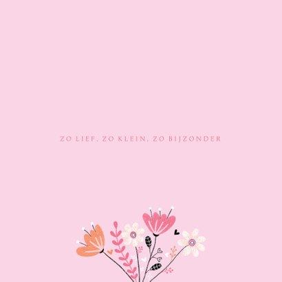 Felicitatie meisje vogel bloemen roze 2