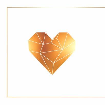 Felicitatie - Origami hart goud 2