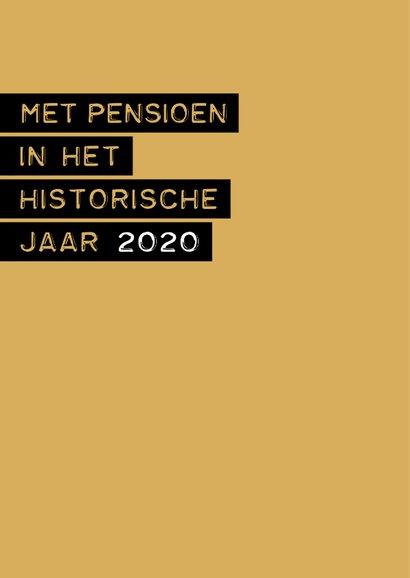 Felicitatie Pensioen in het historische jaar 2020 2