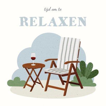 Felicitatie pensioen met tuinstoel tijd om te relaxen 2