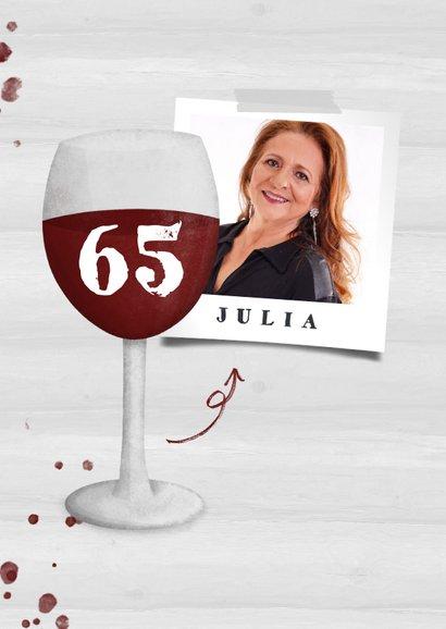 Felicitatie pensioen wijnglas met foto en leeftijd 2