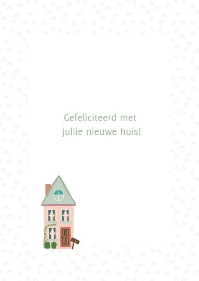Felicitatie roze huis met groen dak 3