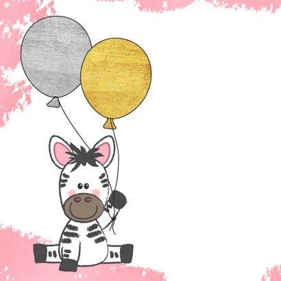 Felicitatie roze kaartje met een illustratie van een zebra 2