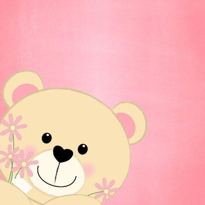 Felicitatie schattig kaartje met een lief beertje en bloemen 2