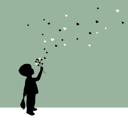 Felicitatie - Silhouet jongen met bloem 2