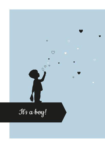 Felicitatie - Silhouet jongen met hartjes 2