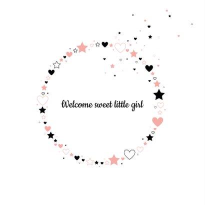 Felicitatie - Silhouet meisje, cirkel van hartjes en sterren 2