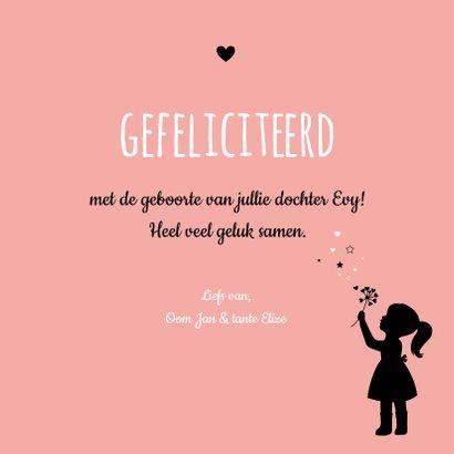 Felicitatie - Silhouet meisje, cirkel van hartjes en sterren 3