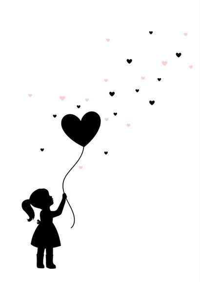 Felicitatie - Silhouet meisje met ballon 2