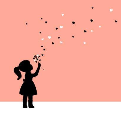 Felicitatie - Silhouet meisje met bloem 2