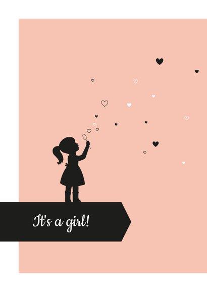 Felicitatie - Silhouet meisje met hartjes 2