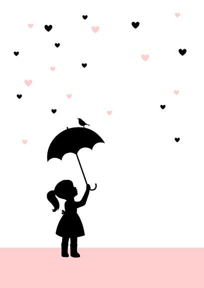 Felicitatie - Silhouet meisje met paraplu 2