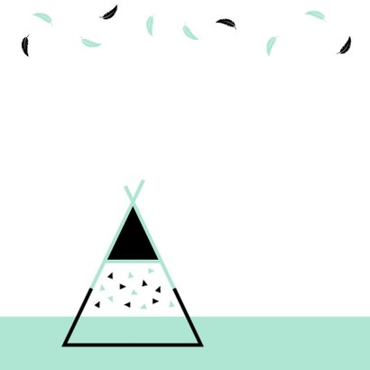 Felicitatie - Tipi met driehoekjes en veren 2