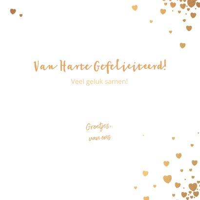 Felicitatie trouwdag moderne kaart met goudkleurige hartjes 3