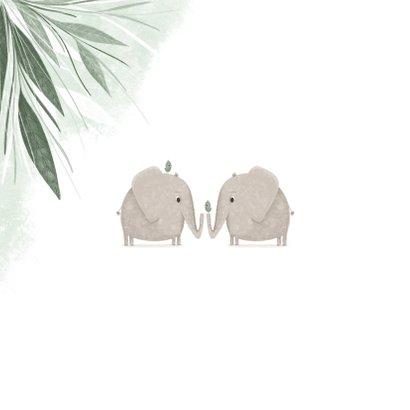 Felicitatie tweeling groen jungle olifantjes met vogels 2