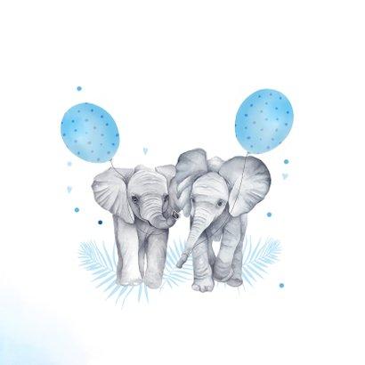 Felicitatie tweeling jongetjes olifantjes ballon 2
