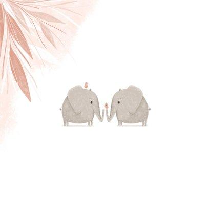 Felicitatie tweeling roze jungle olifanten met vogels 2