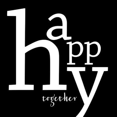 Felicitatie typografisch samenwonen trouwen 2