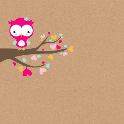 Felicitatie - Uiltje in hartjesboom meisje 2