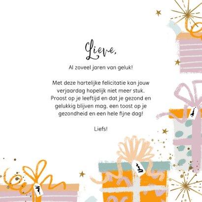 Felicitatie verjaardag cadeaus confetti en sterren goudlook 3